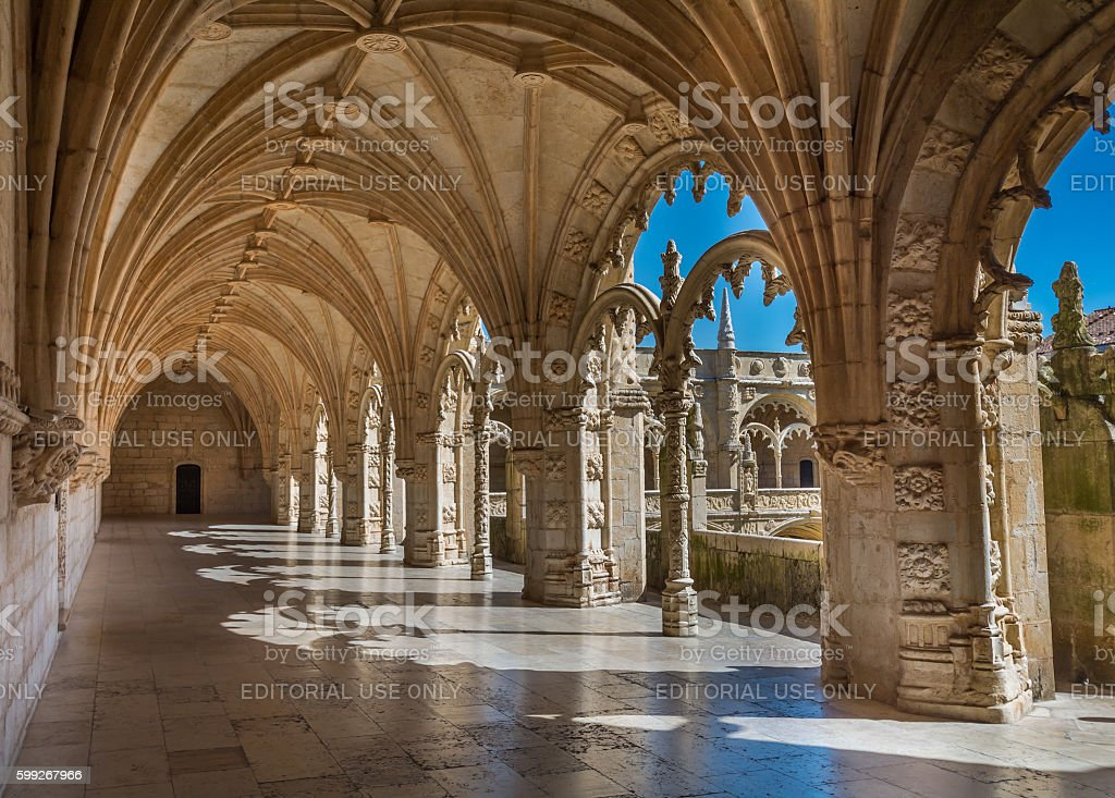 Cloister view in Jeronimos Monastery, Lisbon, Portugal stock photo