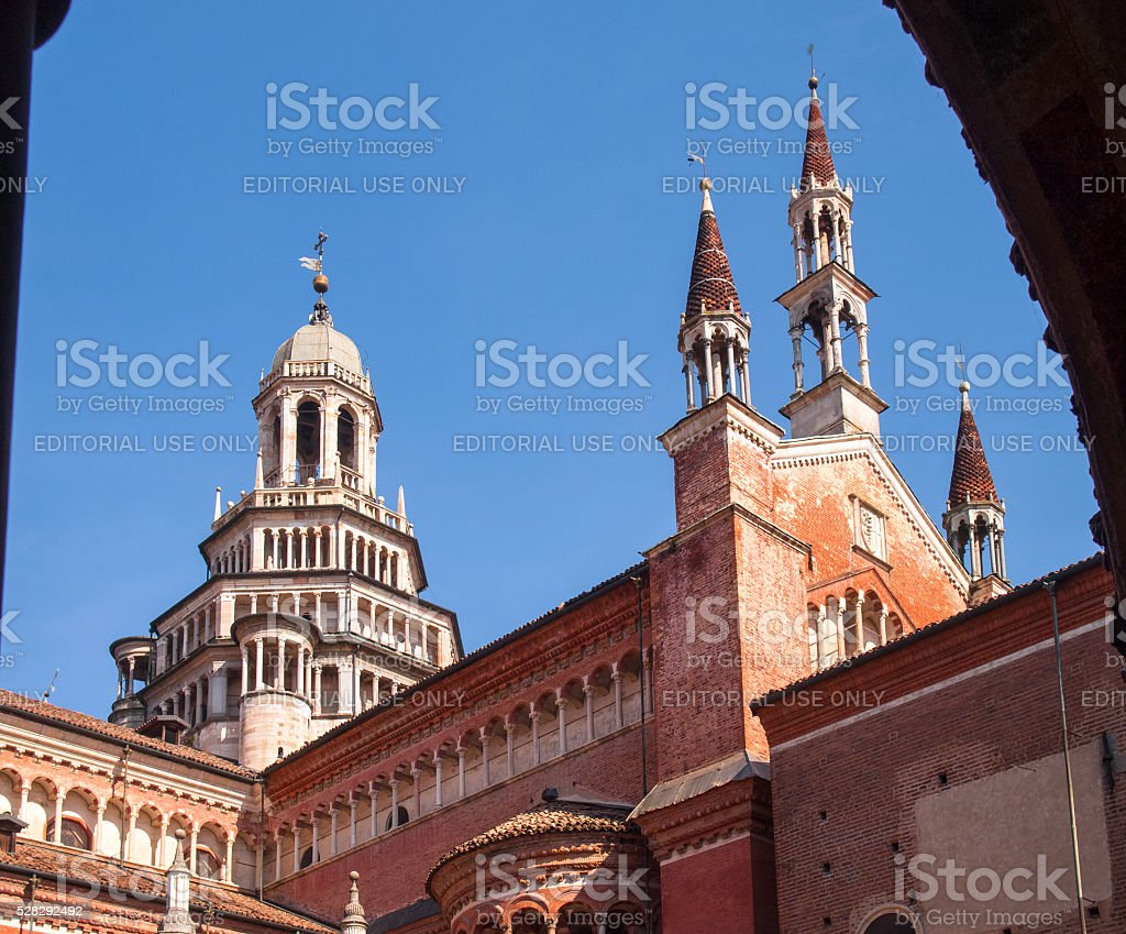 Cloister with views of the church's domes and spiers stock photo