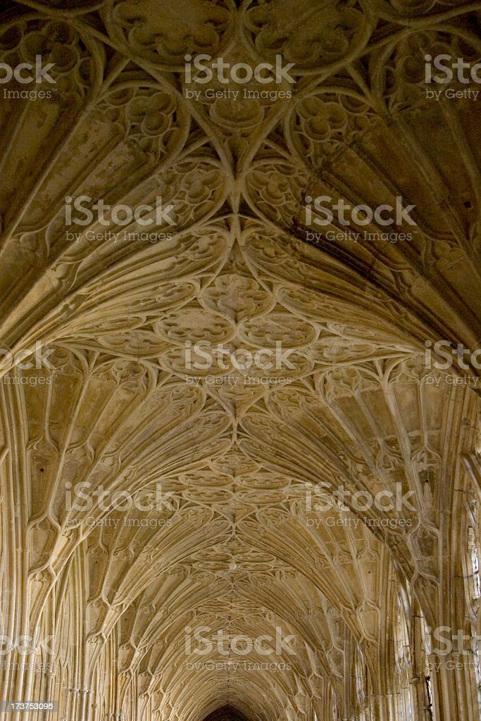 Cloistered corridor with fan vaulting stock photo
