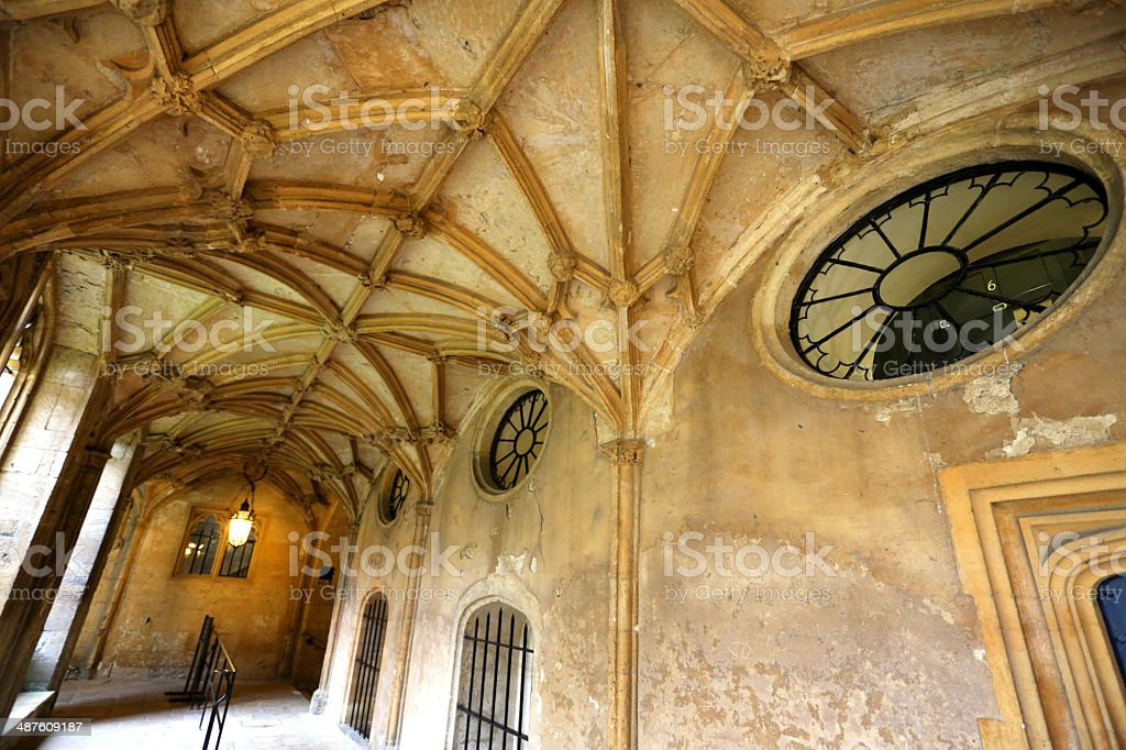 Cloisters at Christchurch cathedral oxford stock photo