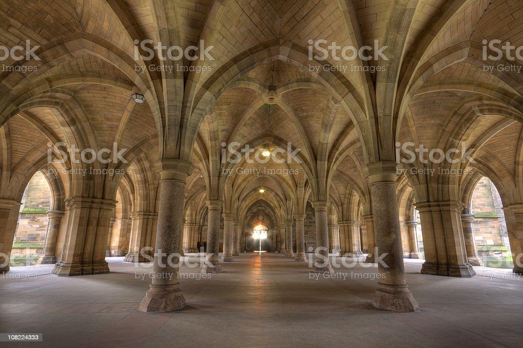 Cloisters, Glasgow University, Scotland. stock photo