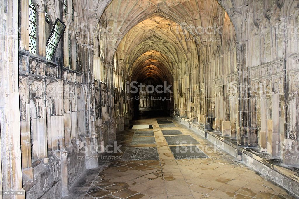 Cloisters in Gloucester Cathedral stock photo