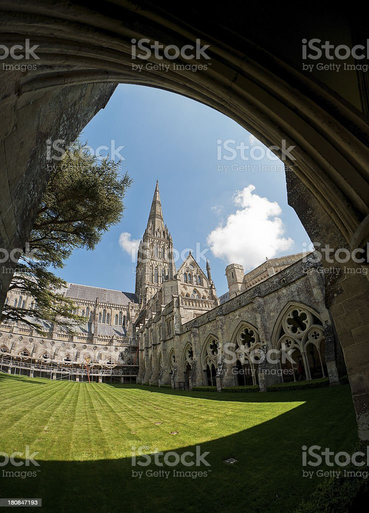 Cloisters, Salisbury Cathedral, Wiltshire, UK stock photo