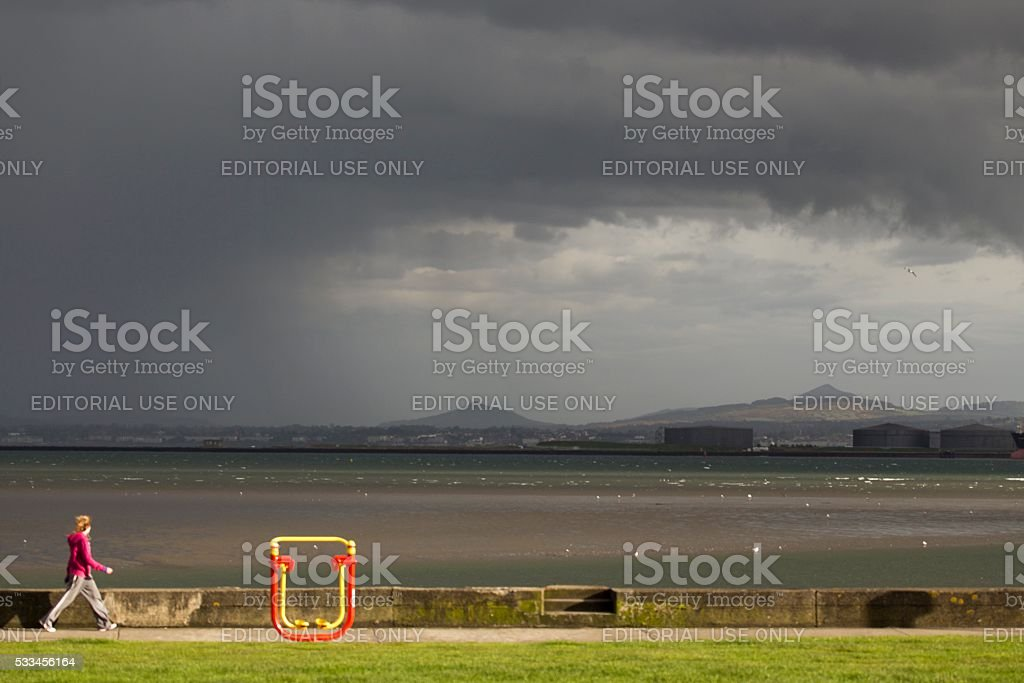 Clontarf Promenade with Sugarloaf Mountain in Background stock photo