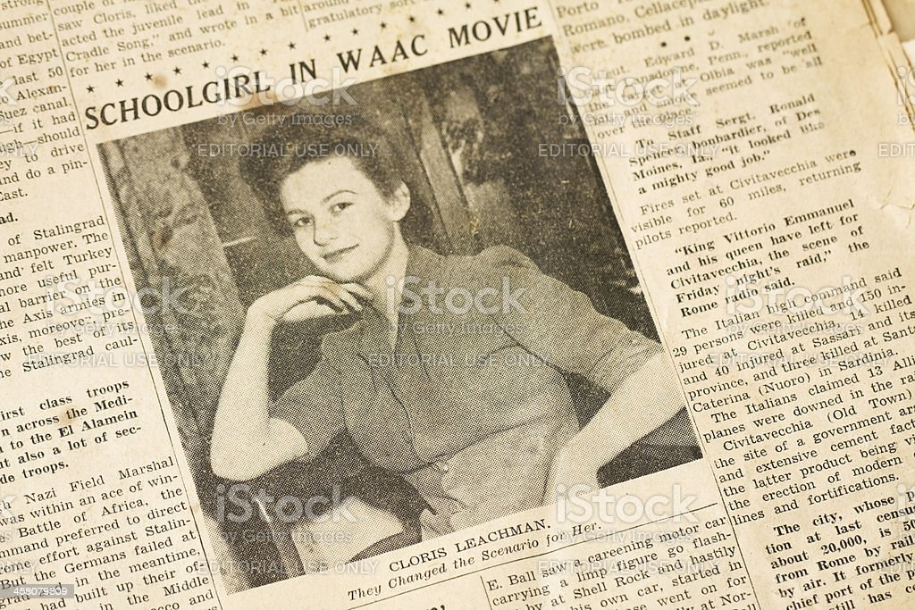 Cloris Leachman, Age 17, in WAAC Movie royalty-free stock photo
