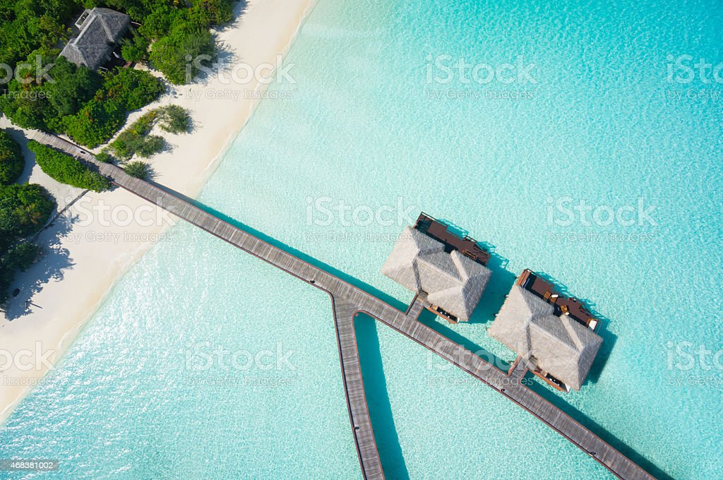 close aerial of tropical resort stock photo