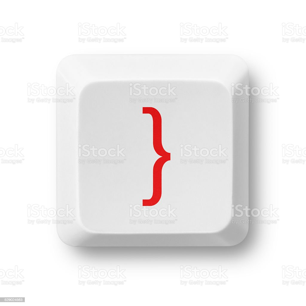 Close brace character on a computer key isolated on white stock photo