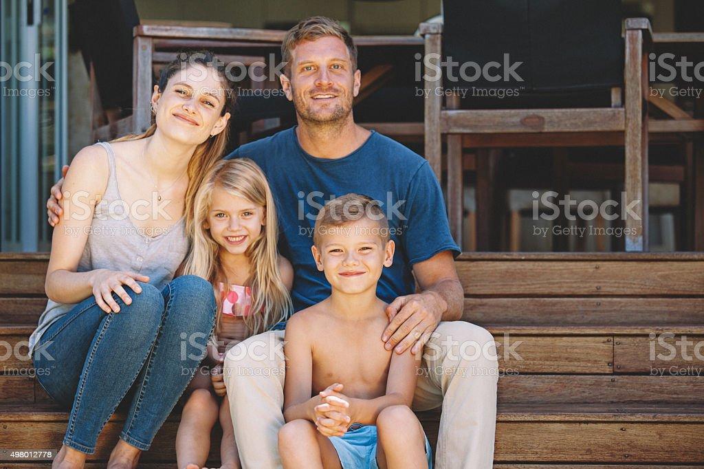 close family portrait stock photo