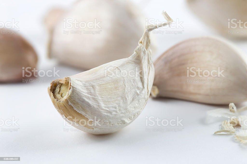 Close focus on garlic stock photo