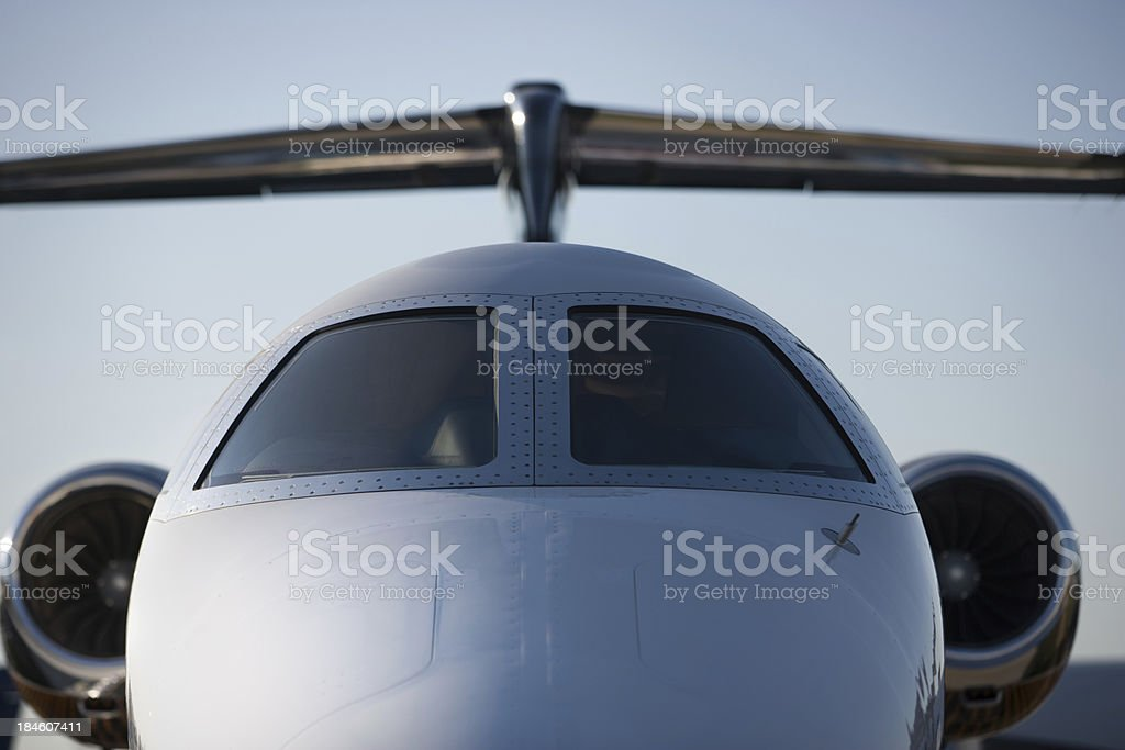 Close front view of corporate Jet royalty-free stock photo
