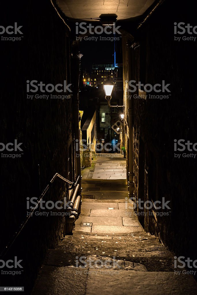 close in the old town of Edinburgh, Scotland, at night stock photo