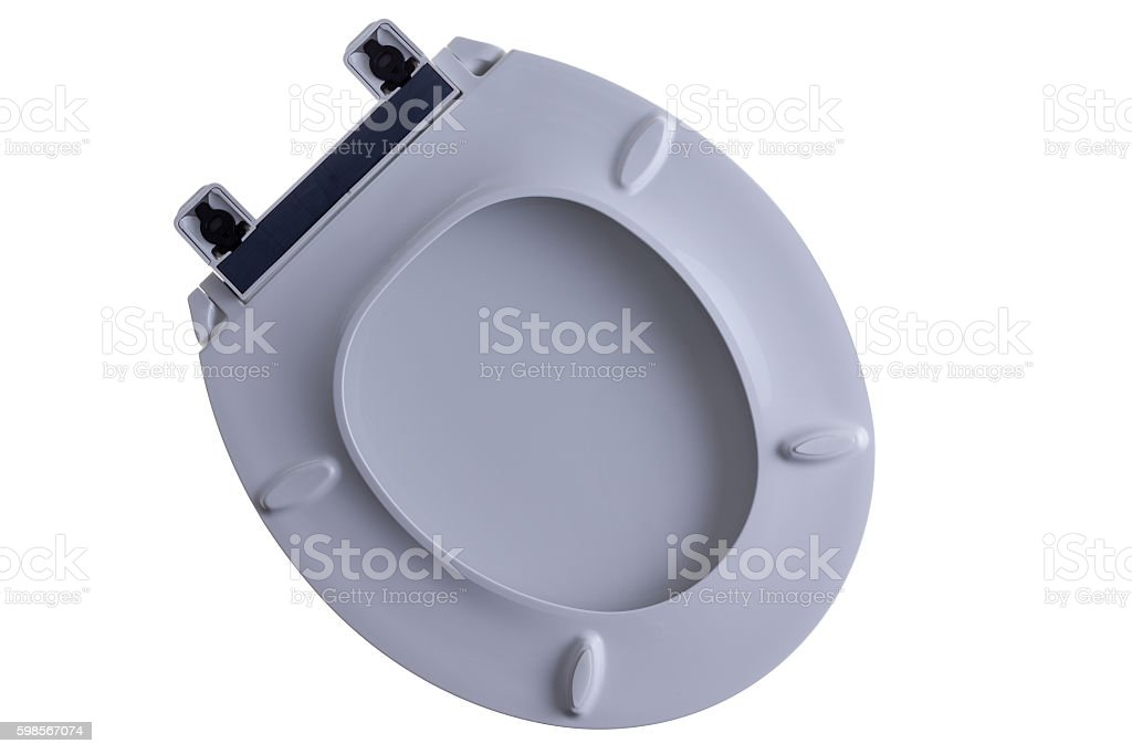 Close loose toilet seat and lid isolated on white stock photo