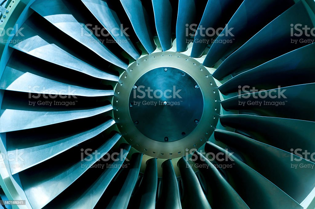 A close of up a turbine showing the individual spokes stock photo