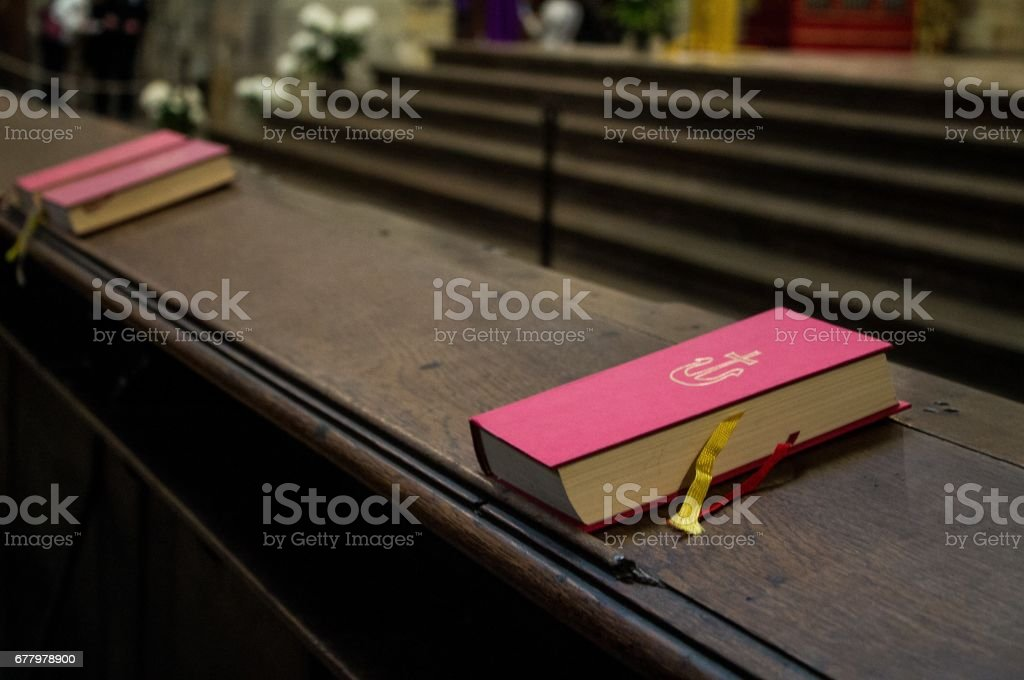 Close photo of Bible in the Church stock photo