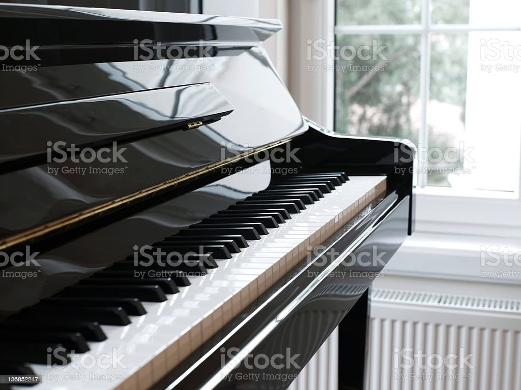 Close piano and keys stock photo