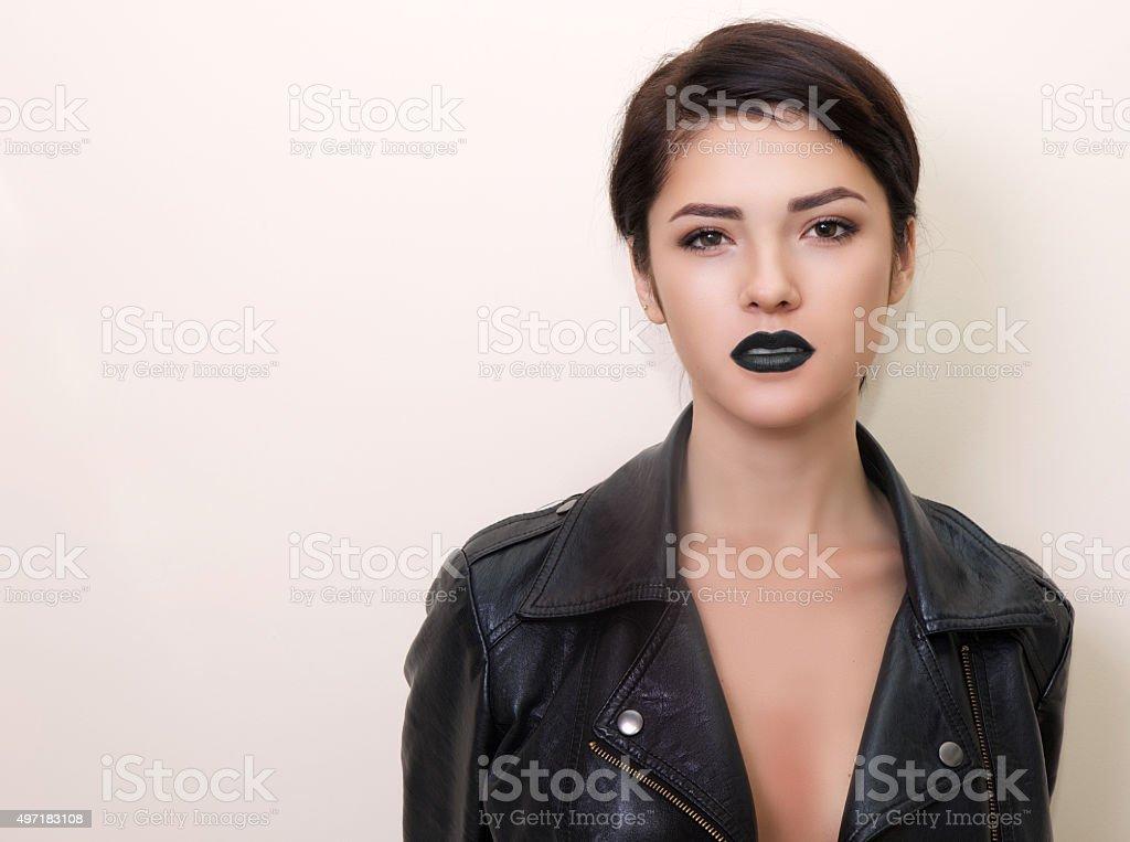 close portrait of beautiful brunet woman stock photo