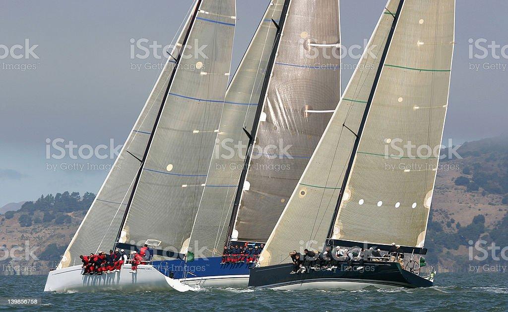 Close racing upwind royalty-free stock photo