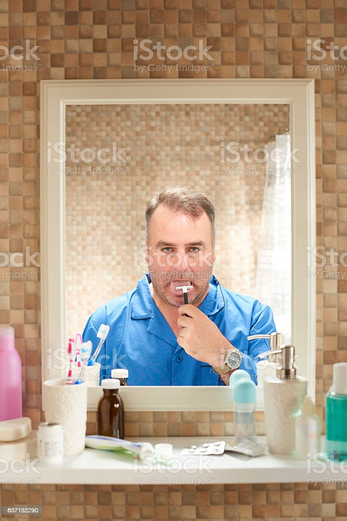 close shave stock photo