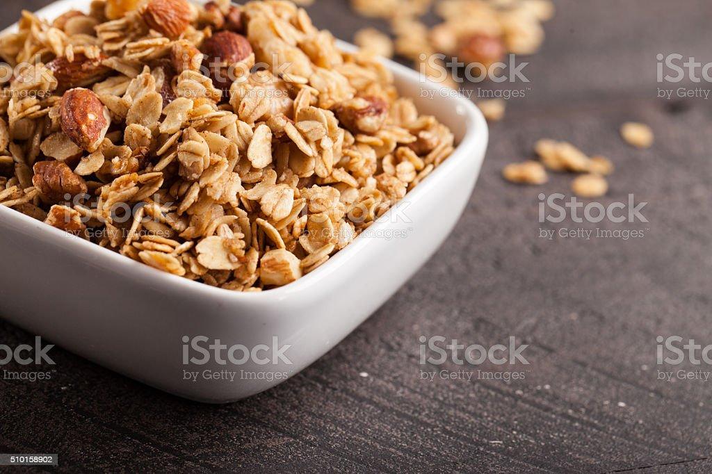 Close shot of Homemade Nutty Cinnamon Granola stock photo