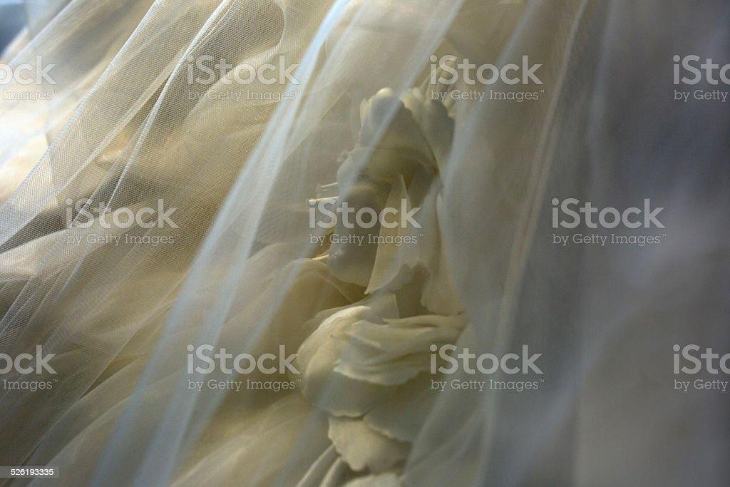 Close shot of wedding dress stock photo