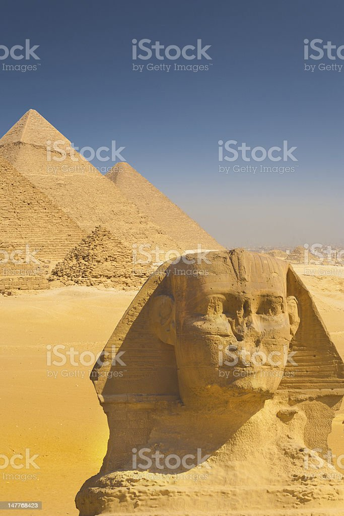 Close Sphinx Face Four Pyramids Shoulder royalty-free stock photo