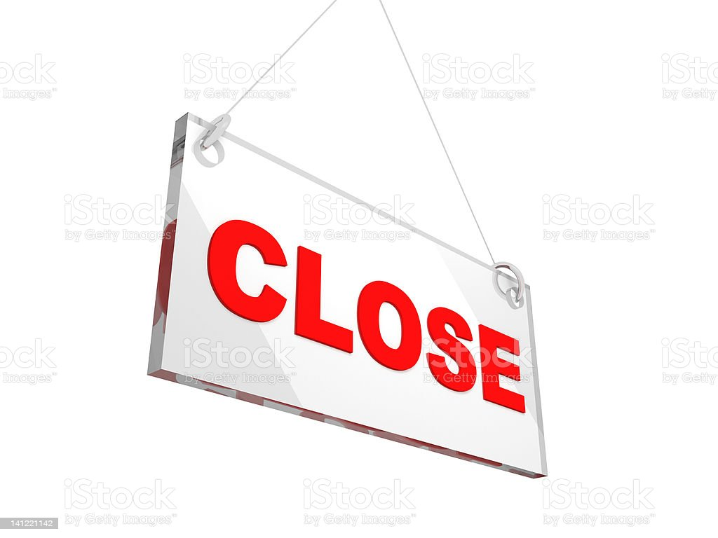 3D Close Store Glass Sign royalty-free stock photo