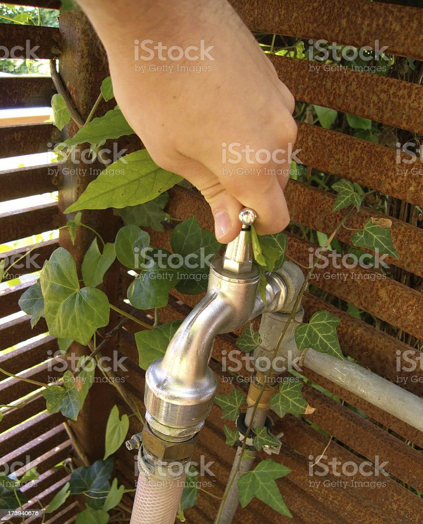 close the faucet outdoor in garden royalty-free stock photo
