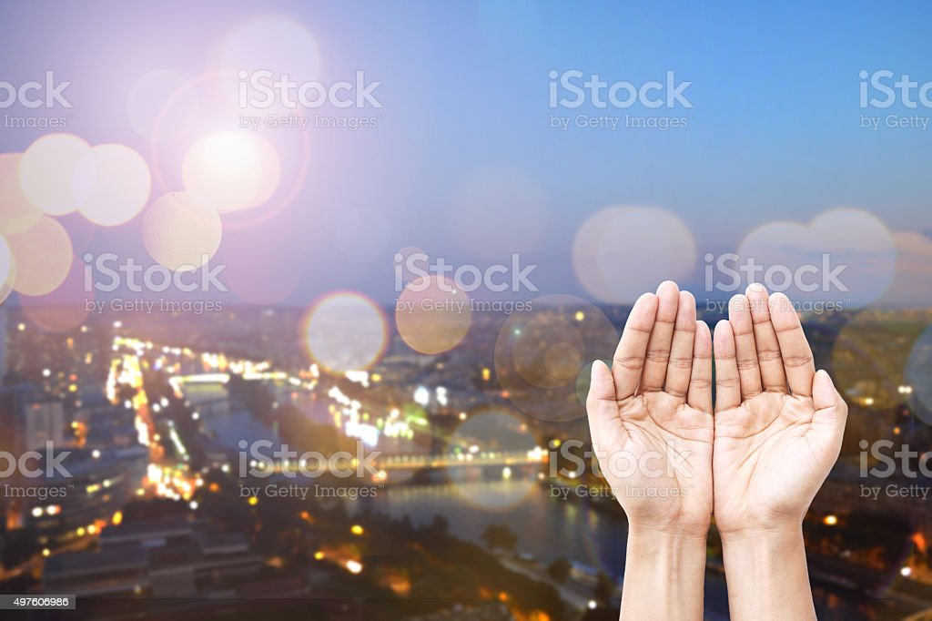 Close uo human hands open palm for giving and praying. stock photo