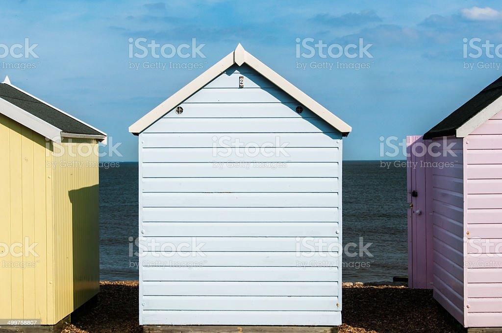 Close uo of a blue beach Hut stock photo