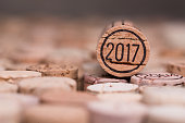 close up 2017 vintage new year wine cork with copyspace