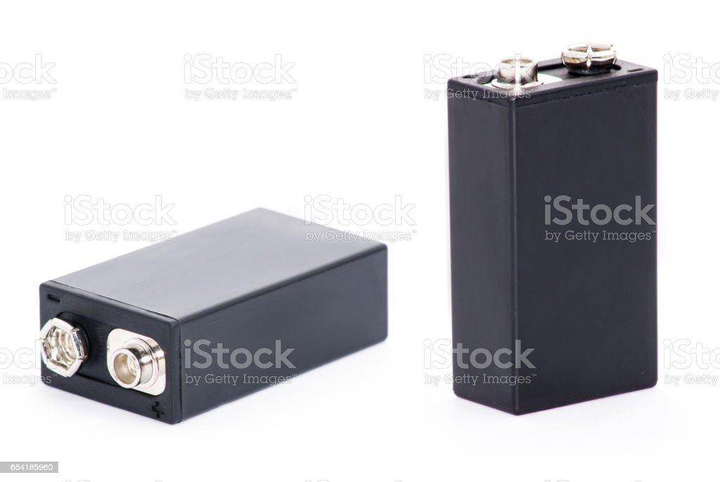 Close up 9v battery isolated on white background stock photo