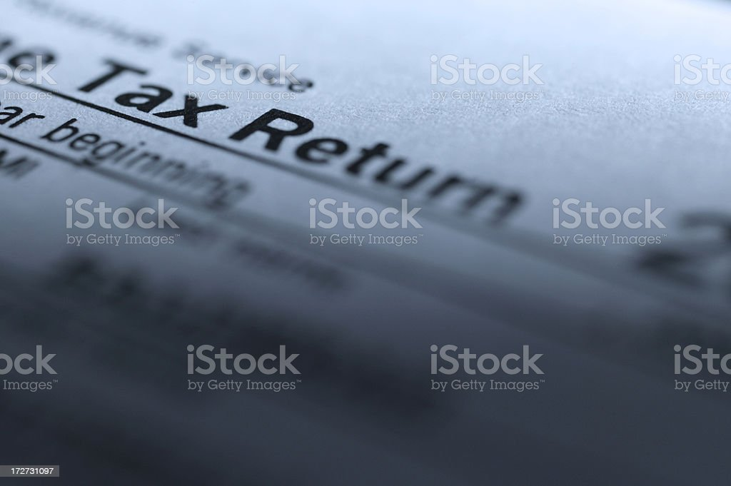 Close up a 1040 IRS tax return stock photo