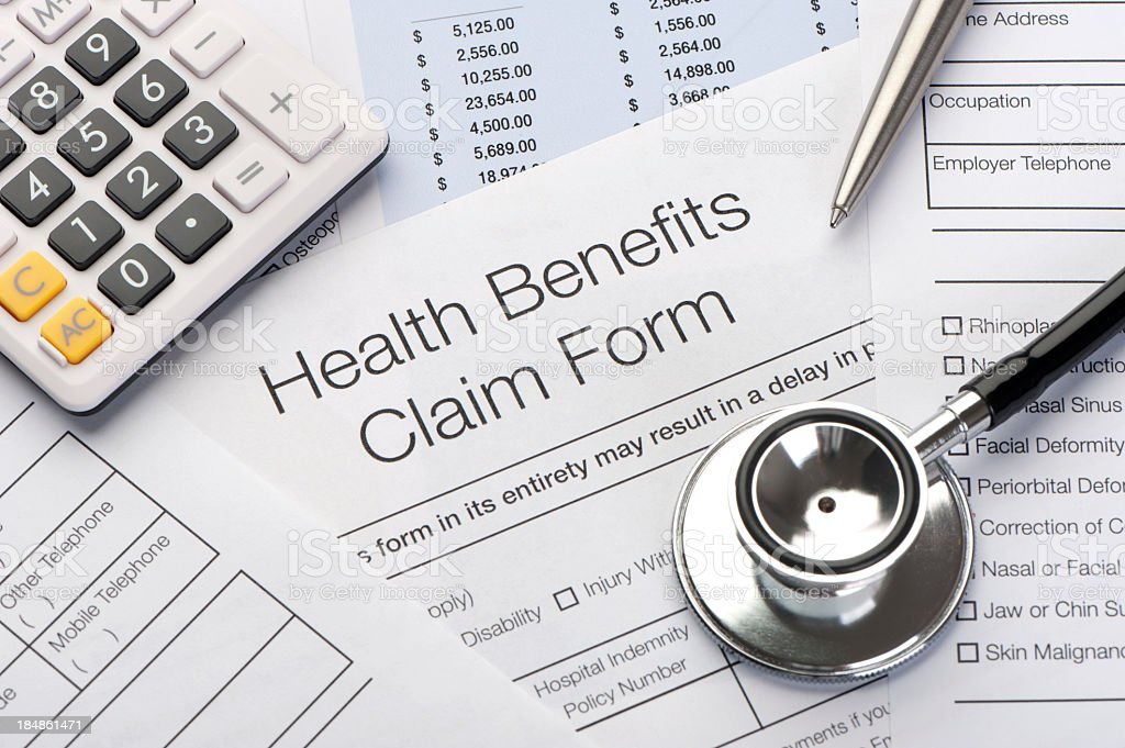 Close up a Health benefits claim form royalty-free stock photo