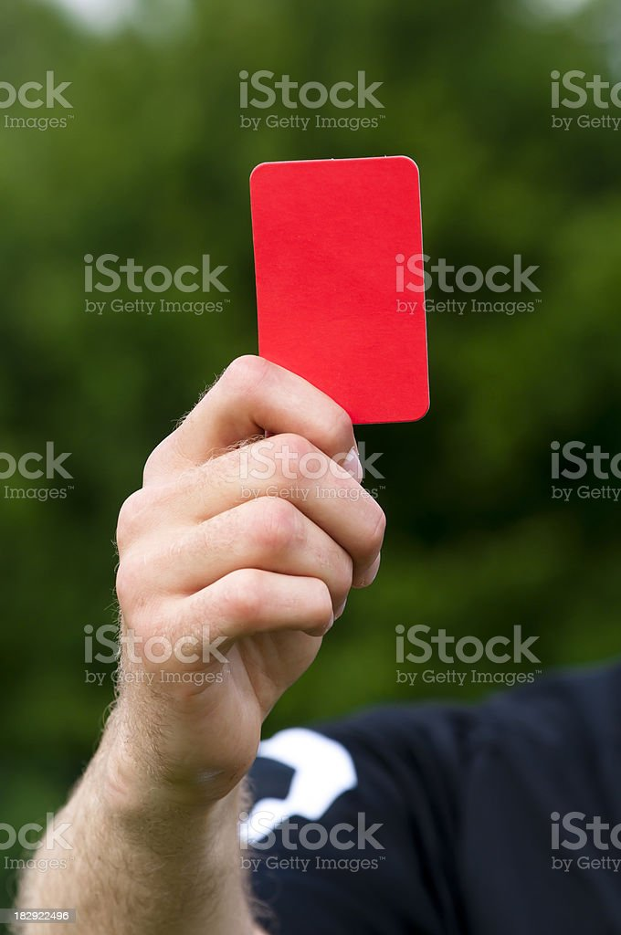 Close up a red card in a sports match royalty-free stock photo