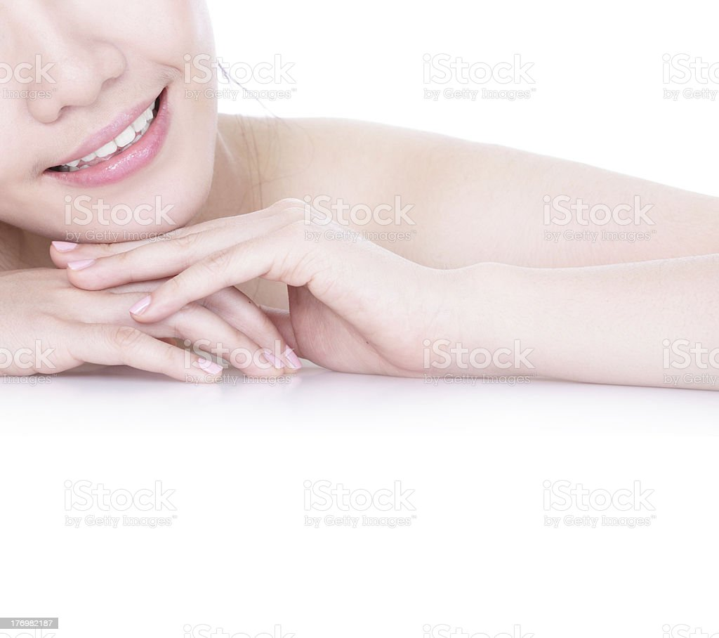Close up a smiling mouth of the girl royalty-free stock photo
