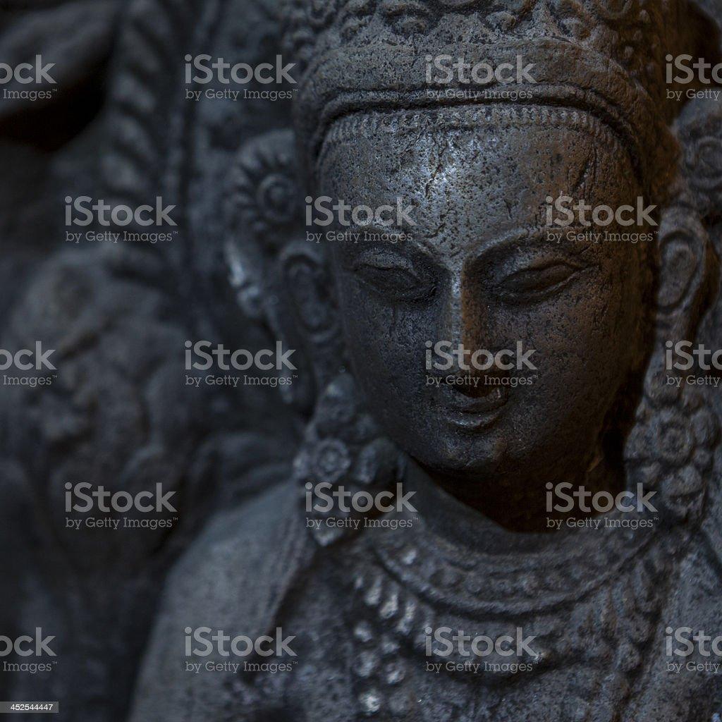 Close up, a statue of Buddha taken in Swayambhunath. royalty-free stock photo