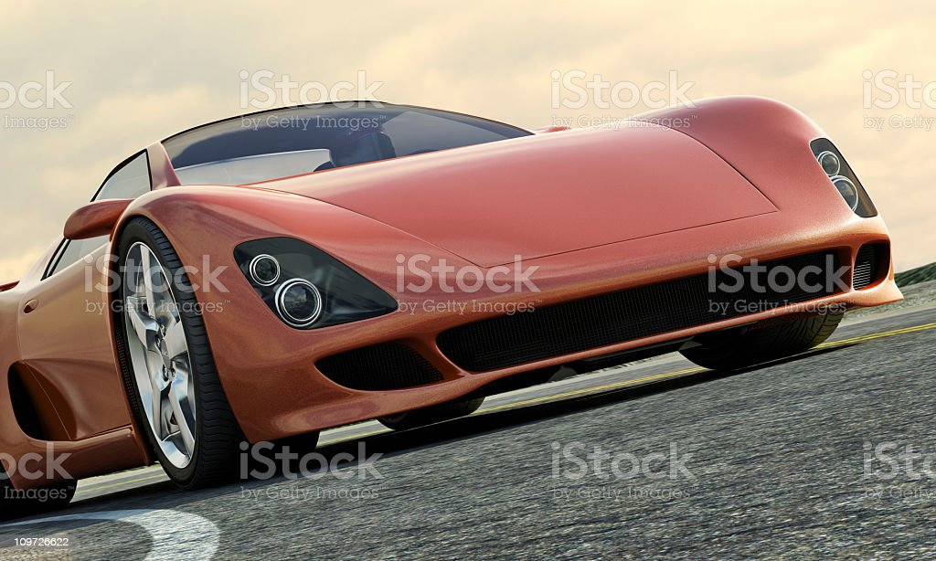 Close up afternoon view of sports car  stock photo