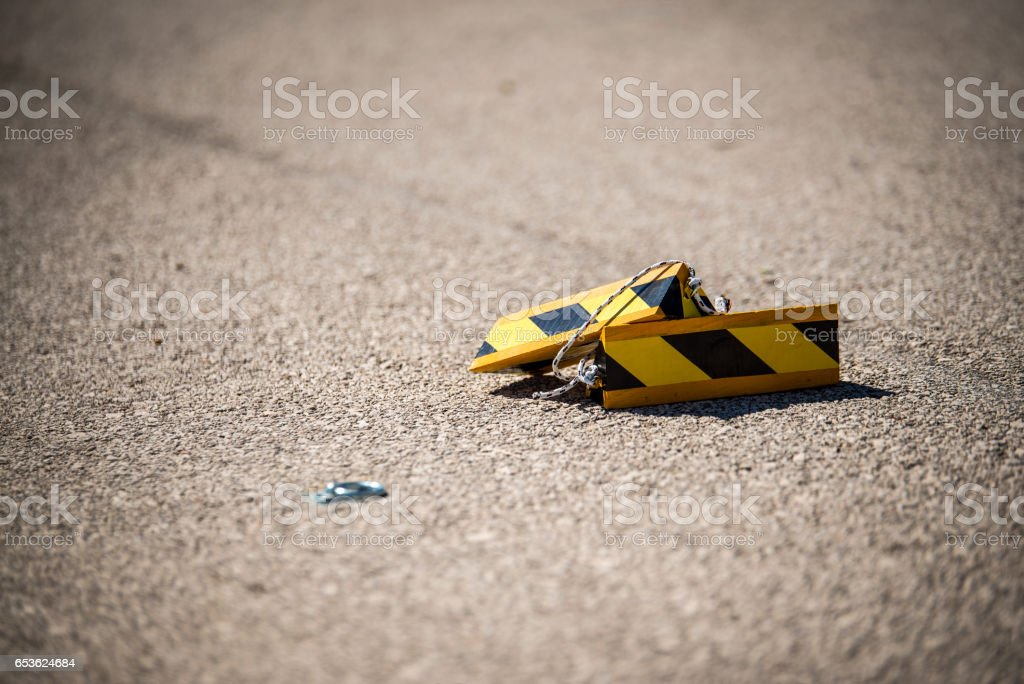 Close up aircraft chocks on the landing field. stock photo