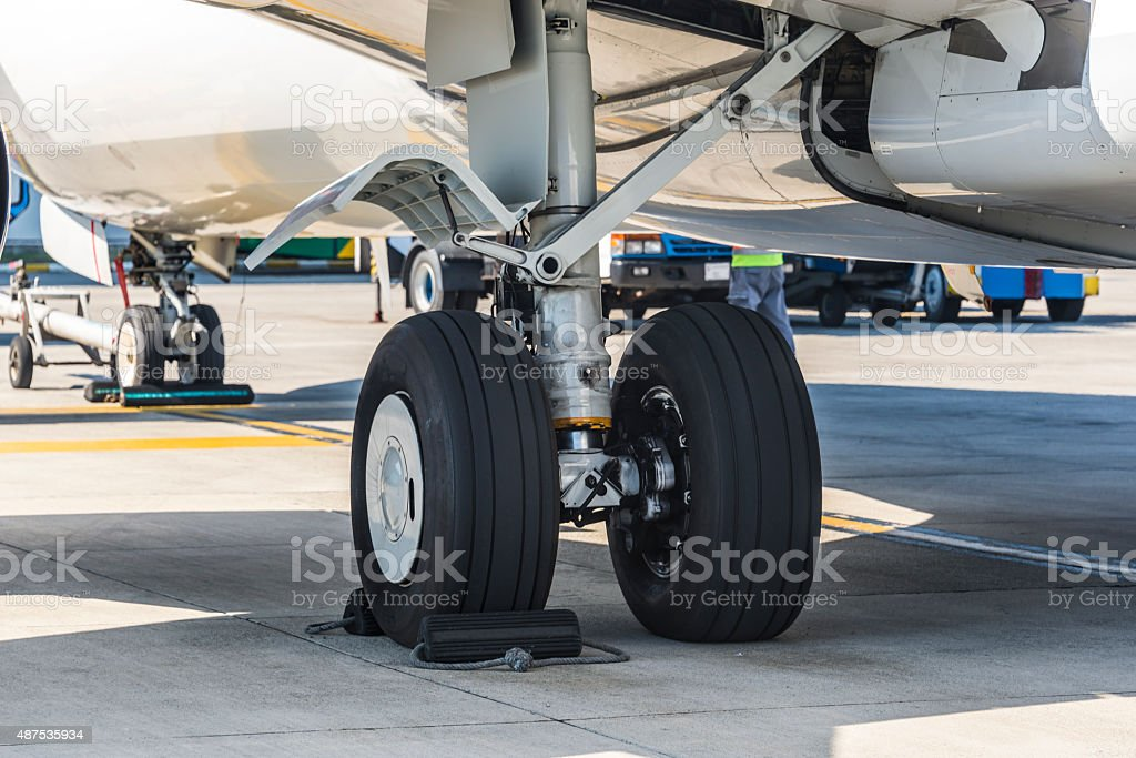 Close up airplane main landing gear stock photo