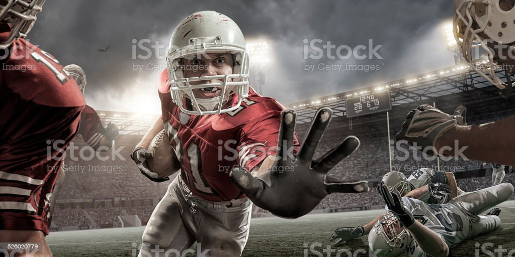 Close Up American Football Action stock photo