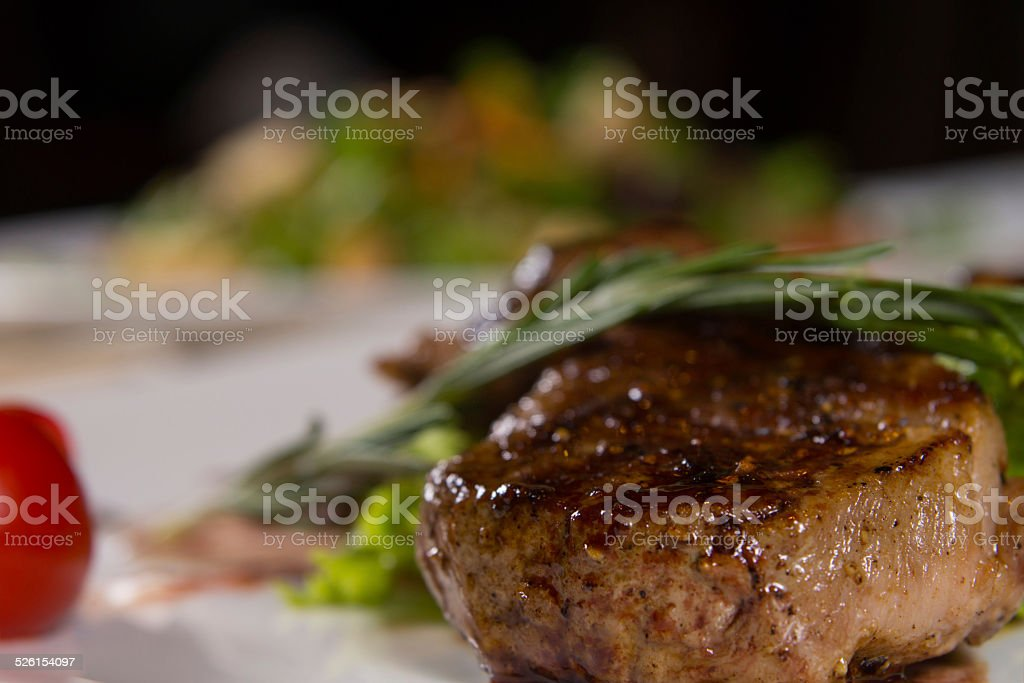 Close up Appetizing Flavored Meat Dish stock photo