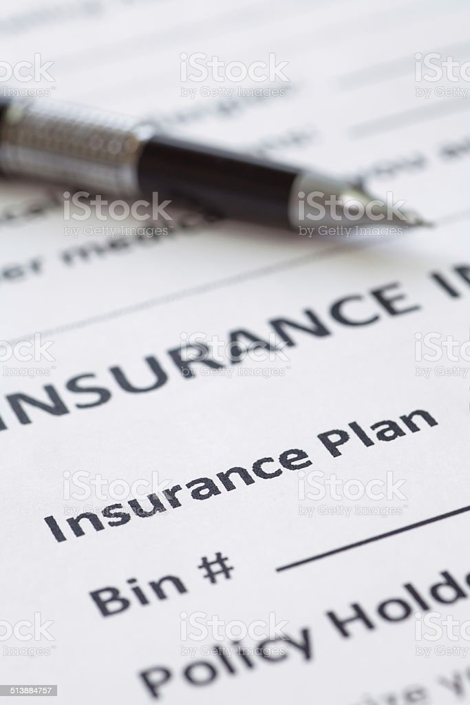 Close - up at detail of health insurance form stock photo