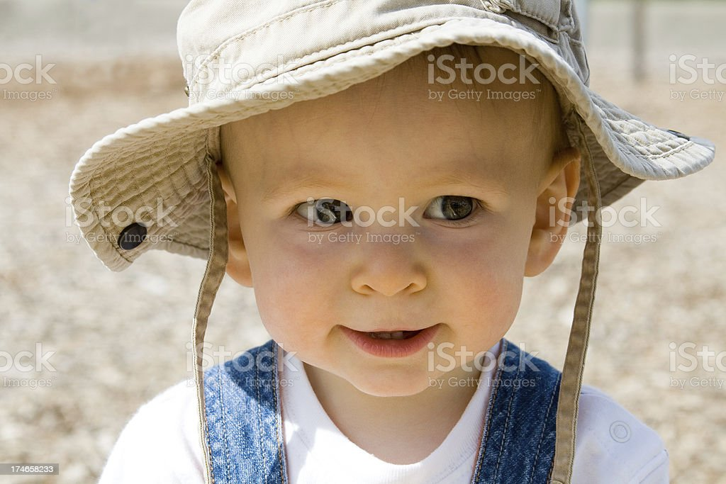 Close up Baby in khaki hat stock photo