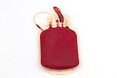 Close up back side bag of blood and plasma
