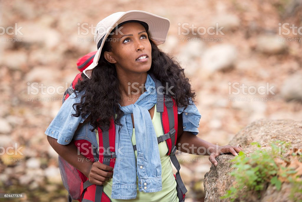 Close up backpacker woman outdoors. stock photo