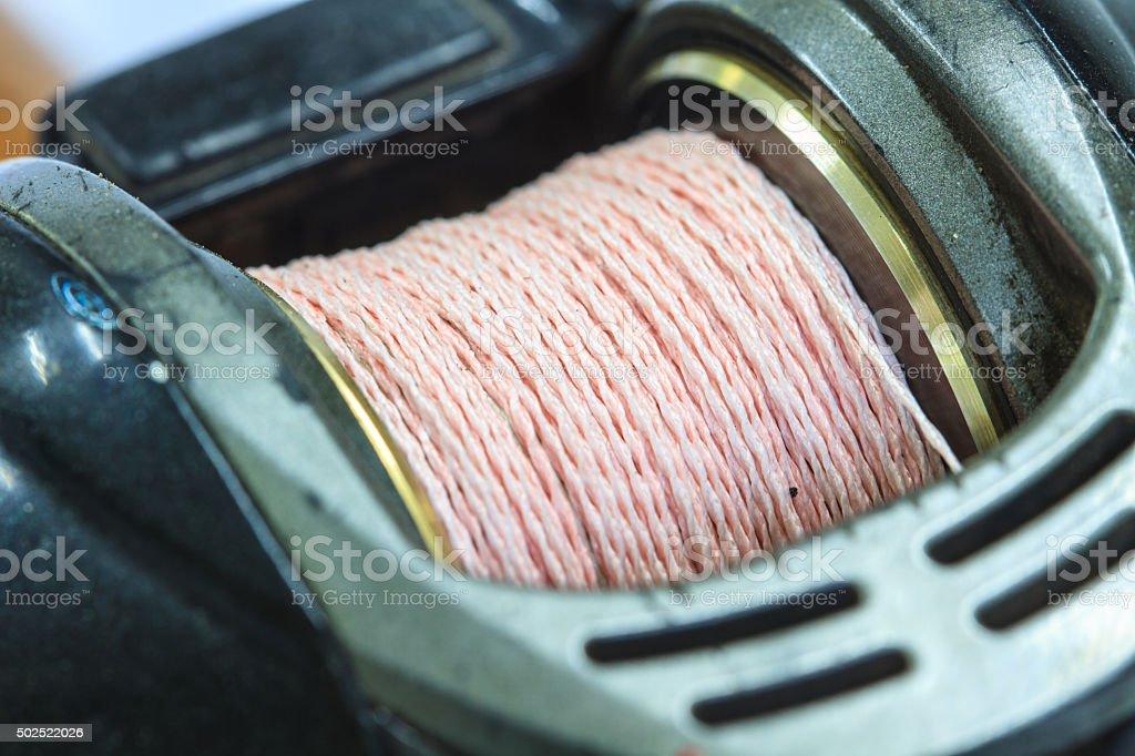 close up Baitcasting reel stock photo