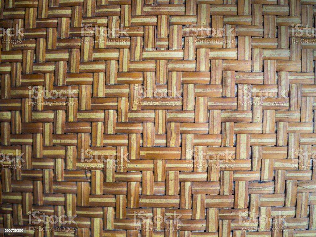 Close up bamboo basketry pattern background stock photo