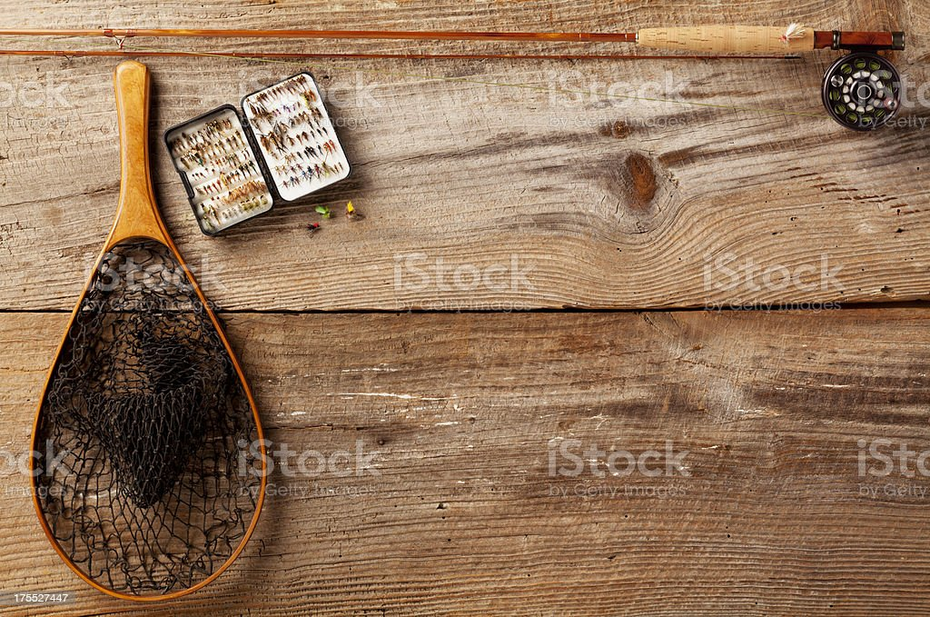 Close up, Bamboo Fly-Fishing rod, Flies & Net Copy Space. stock photo