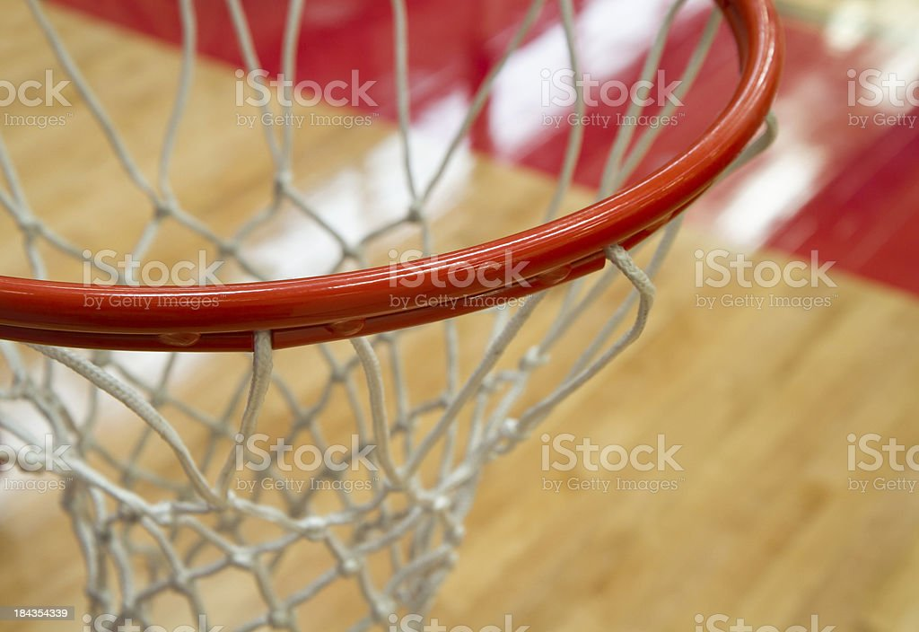 Close Up Basketball Hoop From Above stock photo