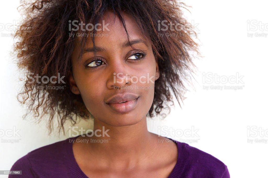 Close up beautiful african woman's face stock photo